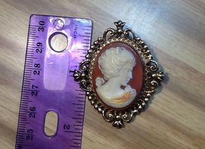 Vintage Estate AVON Perfume Acrylic or PLASTIC Cameo Locket Brooche Pin 1 3/4 Tall for Sale in Fort Worth, TX
