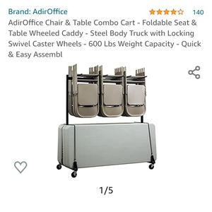 AdirOffice Chair & Table Combo Cart - Foldable Seat & Table Wheeled Caddy - Steel Body Truck with Lo for Sale in Thornton, CO