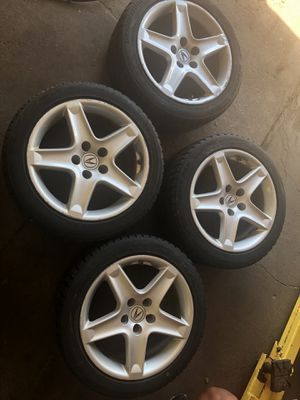 Set of 4 tires and rims for 04 to 08 Acura TL in good shape OBO cash only no trade. for Sale in Wauconda, IL