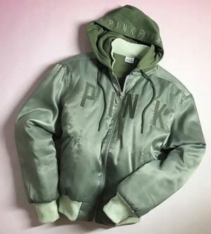 NEW PINK Victoria Secret Limited Olive Green Hooded Bomber Jacket/Hoodie XS for Sale in Davenport, FL