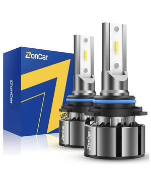 ZonCar 9005 / HB3 Led Headlight Bulbs with Fan, High Beam Halogen Replacement, 2 Pcs/Kit, 12 CSP Chips, 6500K Xenon White Extremely Bright Light 12V for Sale in Quincy, MA