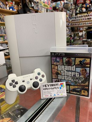 White PS3 PlayStation 3 with GTA 5 for Sale in Houston, TX