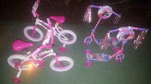 2 kids Huffy bikes and 2 Disney Princess scooters for Sale in Forest Heights, MD