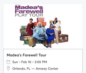 Tyler Perry Madea Farewell Tickets (2) for Sale in Orlando, FL