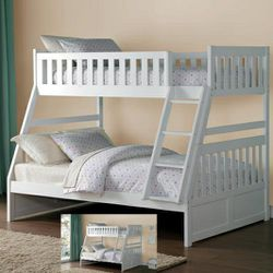 🎵Galen White Twin/Full Bunk Bed🎵⏰39 DOWN⏰ for Sale in Houston,  TX