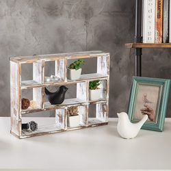 Vintage Whitewashed Wood Freestanding & Wall Mountable 9-Slot Shadow Box Display Shelf for Sale in Los Angeles,  CA