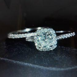 Set 2 Piece 925 Sterling Silver Engagement Wedding Ring, Size 6. for Sale in Dallas,  TX