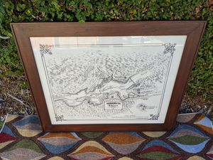 Framed art, vintage map of Yosemite Valley for Sale in Ontario, CA