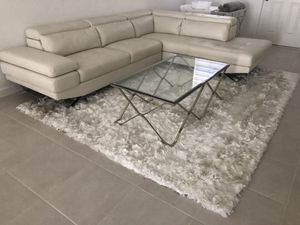 Tatiana White Micro Right Chaise Sectional and Paradise Ivory Carpet for Sale in Hialeah, FL