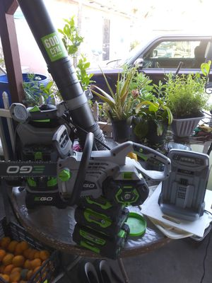 All for 4 bills super cheap. 2, 5ah. 2, 2.5ah. 1,7.5 ah backpack pack air blower and chainsaw for Sale in Paramount, CA