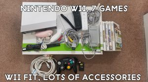 Nintendo Wii, Wii Fit, Gamecube controller/memory, 2 nunchucks/2 wii remotes, 7 games, component video for Sale in Fairfield, CA
