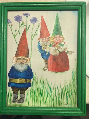 Super Cute Vintage Original Oil on Canvas painting with 2 Dwarfs/Gnomes and One Lady Dwarf, Signed Nanci Clare in Excellent Condition for Sale in Seattle, WA