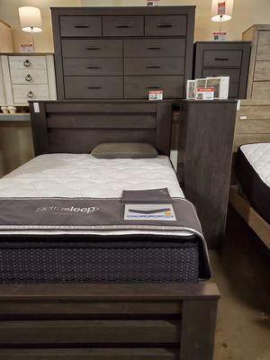Queen Bed Frame, Rustic Black for Sale in Fountain Valley, CA
