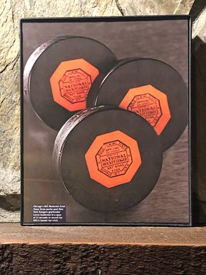 """Page from the Past : Picture of Hockey Pucks In """"8x10"""" glass frame. for Sale in Snellville, GA"""