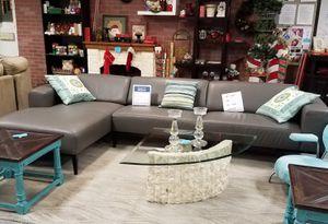 New! From Italy Gray Leather Sofa Habitat Boca Restore for Sale in Boca Raton, FL