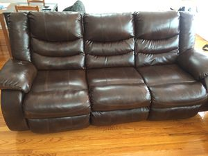 Faux leather couch PICK UP ONLY. for Sale in Jersey City, NJ