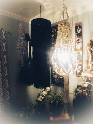 Macrame lighting, boho lighting, home decor, lighting, macrame, handmade, home decor, beach decor for Sale in Riverside, CA