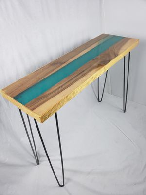 """Artistic Teal """"Resin River"""" Console Sofa Table for Sale in Orem, UT"""