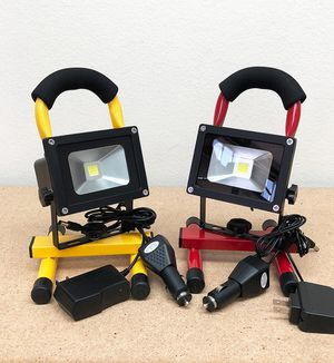 New in box $25 each Cordless 10W Portable Work Light Rechargeable LED Flood Spot Camping Lamp (Red or Yellow) for Sale in Pico Rivera, CA