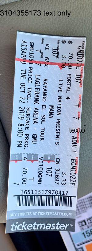 Concierto de Mana 22 de octubre 8:00 pm for Sale in Sterling, VA