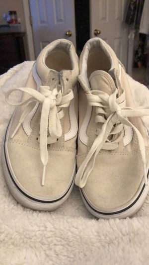 Beige Vans with white stripes women's 5.5 for Sale in Garrison, MD