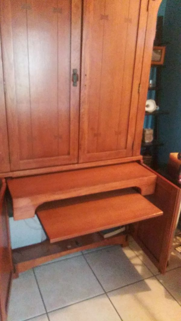 Solid wood Curio cabinet (2) peices for Sale in San ...