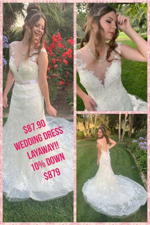 #LUXURY WEDDING DRESS DEEP V FRONT for Sale in Escondido, CA