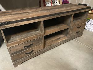TV stand - distressed wood/farmhouse look for Sale in Clovis, CA