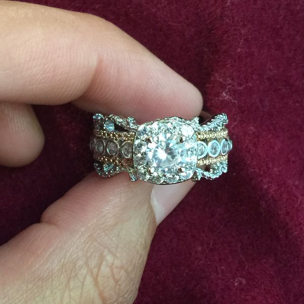 14k gold plated stimulated diamond ring size 8 and 9 available