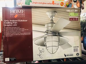 Grayton 54 in. LED Indoor/Outdoor Galvanized Ceiling Fan with Light Kit and Remote Control for Sale in College Park, GA