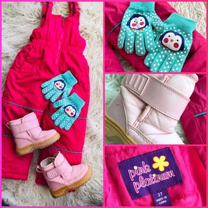 Baby Toddler Girl 3T Pink Snow Overalls Winter Lot Boots Outfit Shoes Pants for Sale in Chesapeake, VA