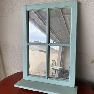 """Vintage wooden frame Cottage window style mirror Approximately 29"""" x 22"""" Vintage wood painted aqua - looks shabby chic or could use a painting for Sale in Phoenix, AZ"""
