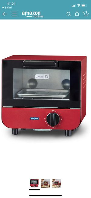 DASH DMTO100GBRD04 Mini Toaster Oven Cooker for Bread, Bagels, Cookies, Pizza, Paninis & More with Baking Tray, Rack + Auto Shut Off Feature Red for Sale in Las Vegas, NV