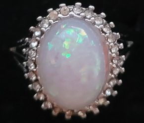 Platinum Plated Opal And Cz Ring for Sale in Baltimore,  MD