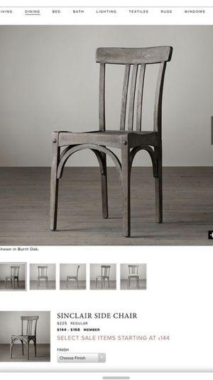 Restoration Hardware Sinclair side chairs (2) for Sale in Deerfield Beach, FL
