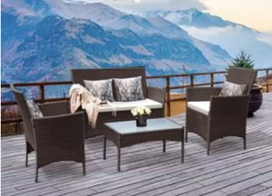 Wicker Patio Furniture set with 2 Chairs, 1 Sofa, and Table in Brown for Outdoor Seating for Sale in Colorado Springs, CO