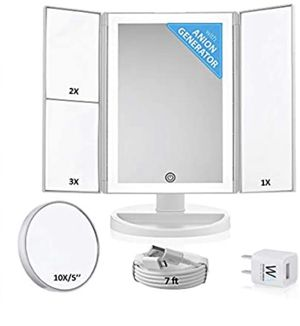 Lighted Makeup Mirror with Magnification - Trifold Desktop+10x Magnifying Cosmetic Mirrors - Vanity Makeup Mirror with Led Lights - Battery or Electr for Sale in Lawrenceville, GA