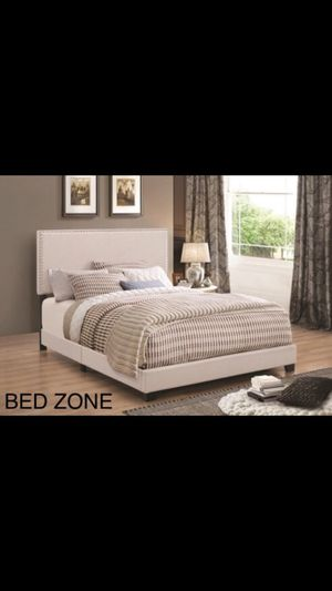 BRAND NEW FABRIC BED FRAME WITH NAILHEAD TRIM - TWIN, FULL, QUEEN, KING, CAL KING for Sale in Oakley, CA