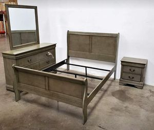 BRAND NEW QUEEN BEDROOM SET 4 PCS BED FRAME, NIGHTSTAND,DRESSER AND MIRROR for Sale in Ontario, CA
