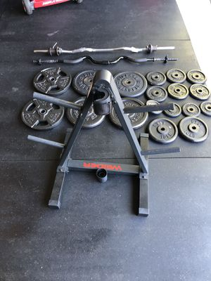 """210 pounds weights, 2 curl bars and Weider stand 1"""" holes for Sale in South Riding, VA"""