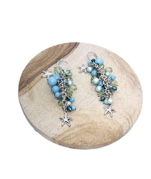 """Silver Tone Dangling Earrings w/Blue, Green Beads & Silvers Stars. NWOT. Approx 2.5"""" SHIPPING ONLY!!! for Sale in Colorado Springs, CO"""