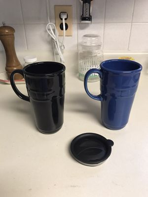 Longaberger Tall Travel Mugs (Ebony Black and Cornflower Blue) for Sale in Perryville, MD