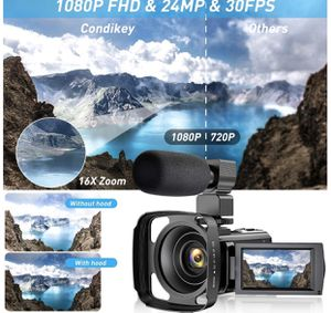 Video Camera Camcorder for YouTube, FHD 1080P 30FPS 24MP Digital Vlogging Camera 16X Digital Zoom 3.0 Inch 270° Rotation Screen Video Recorder with L for Sale in Queens, NY