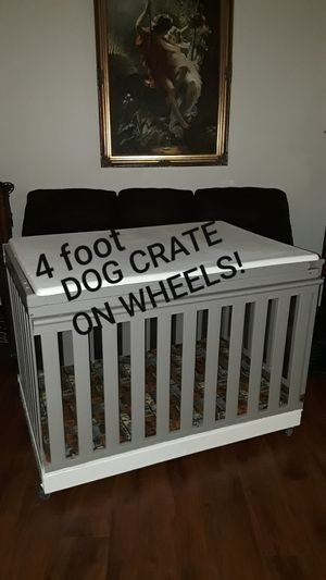 4ft GRAY DOG CRATE on WHEELS + XTRAS for Sale in Perris, CA