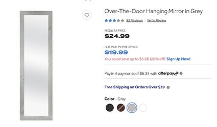 Brand New Over-the-door Mirror for Sale in Brookline,  MA