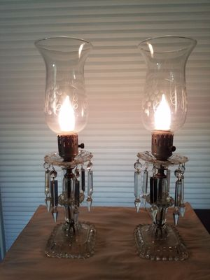 Vintage Pair of Electric Luster Lamps with Crystal Prisms for Sale in Glen Allen, VA