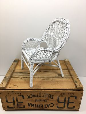 Vintage Antique Small White Wicker Doll Chair for Sale in Chicago, IL