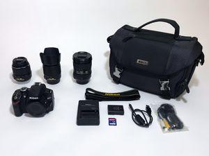Nikon D3200 & THREE lenses for Sale in Los Angeles, CA