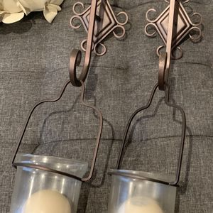 LOT 2 Hanging Wall Sconces Glass Bowls Metal Brown Candles Decoration for Sale in Brooklyn, NY