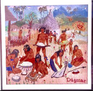 Cuadro grande bordado a mano con agujetas. Pintora Dagmar Porro. Representa una tribu india. for Sale in Hialeah, FL